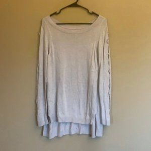 Lauren Conrad lace up sleeve high low sweater
